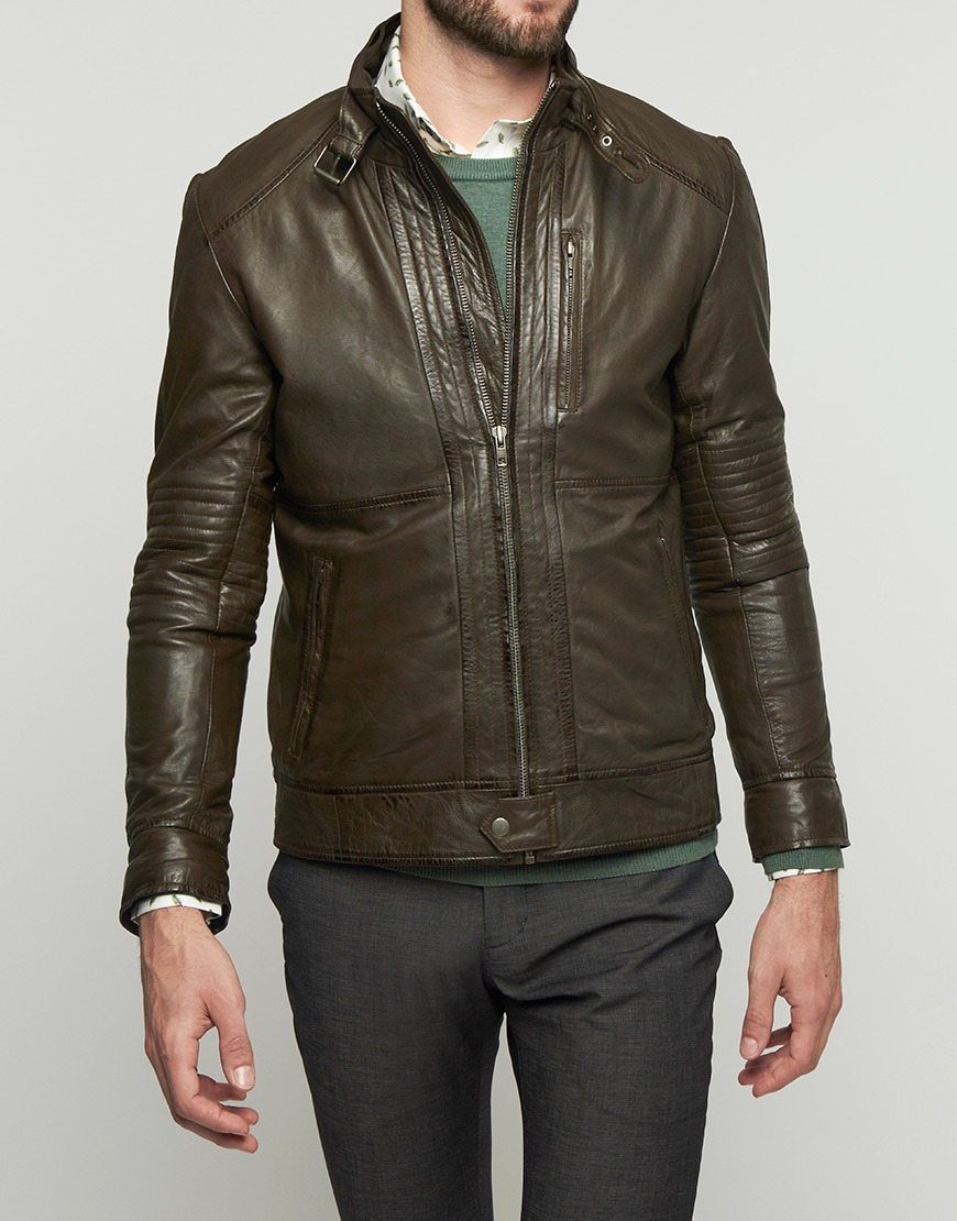 Afbeelding van Bertoni of Denmark Jas leather jacket pori brown/green bruin