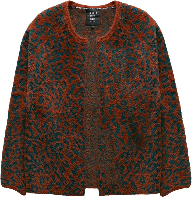 Afbeelding van 10 Feet Animal jacquard fur knit cardigan bruin