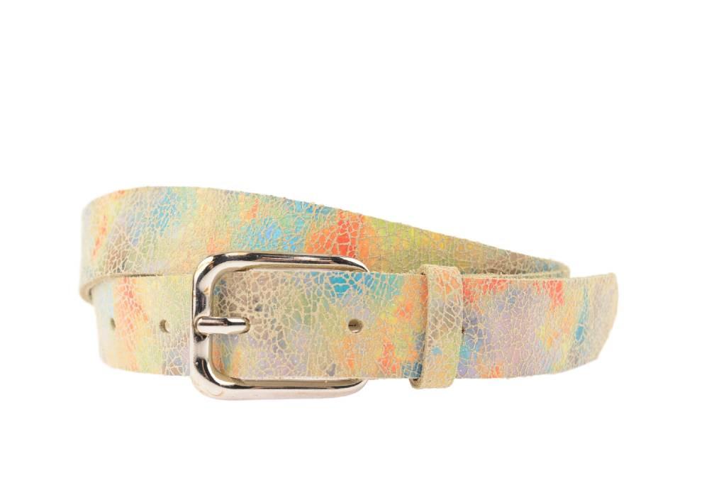 Afbeelding van Alberto Dames riem met kleurrijke vlekken