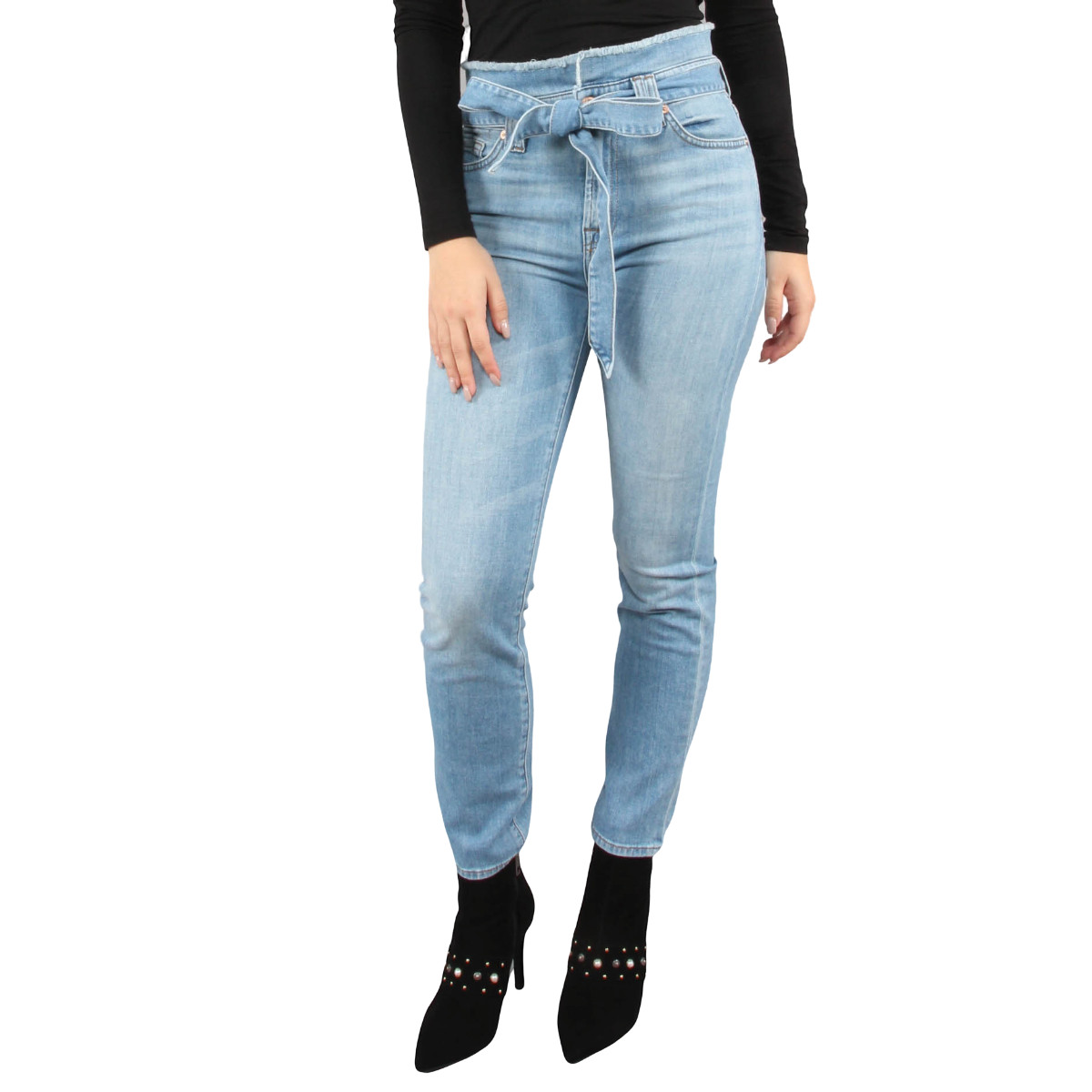 Afbeelding van 7 For All Mankind Paperbag waist pant blauw