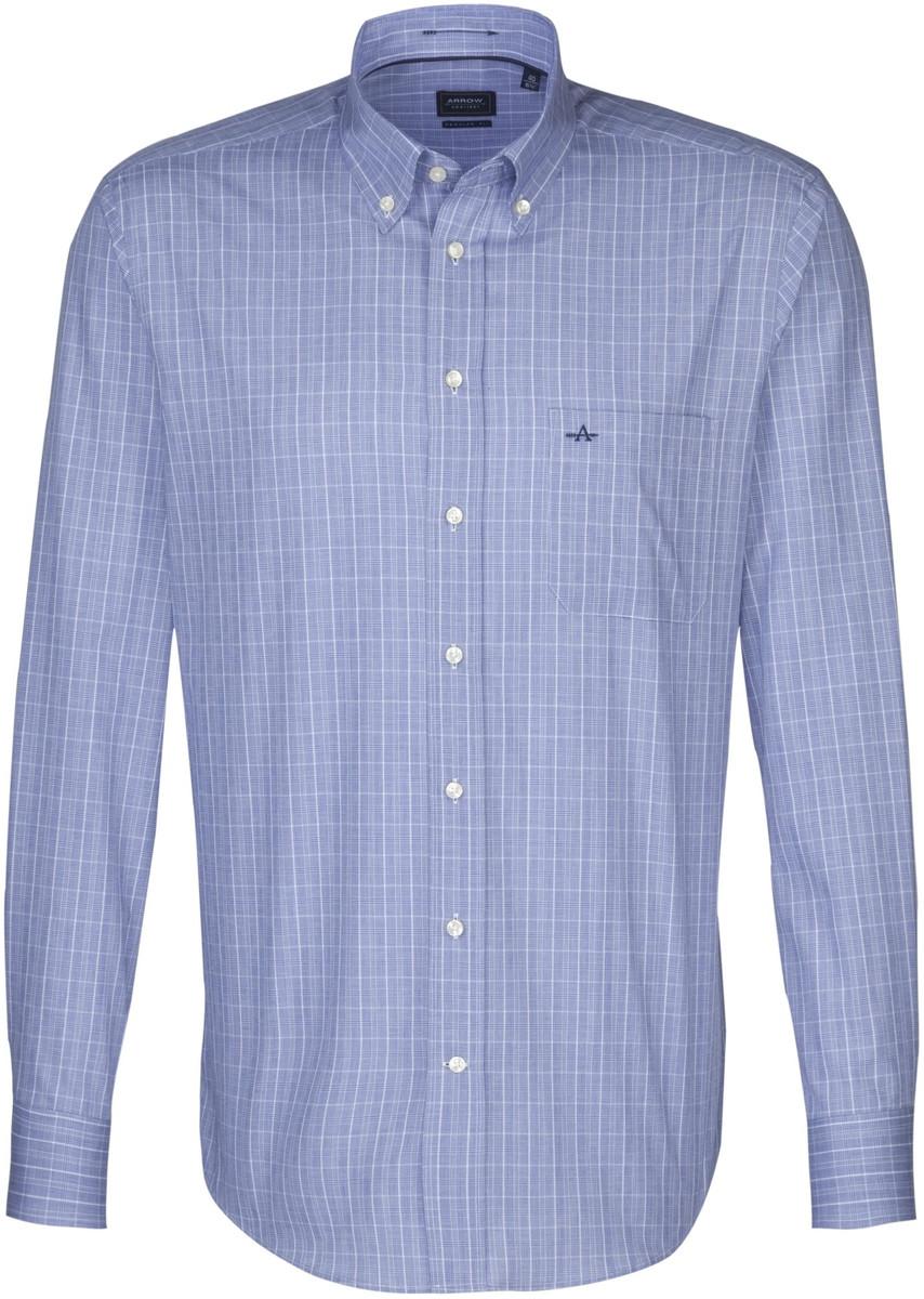 Afbeelding van Arrow Heren overhemd devon donker ruit borstzak button-down regular fit blauw