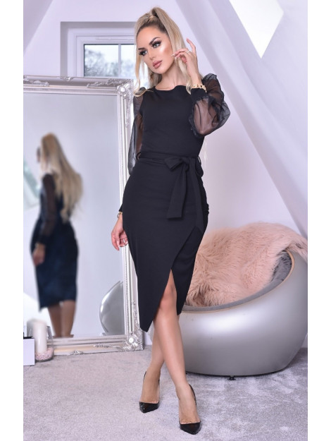 Catwalk Grace organza mesh sleeves wrap dress GraceDrs-Blk large