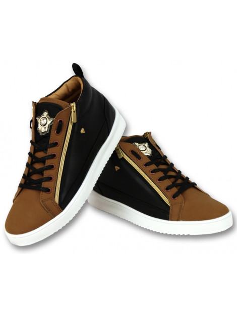 Cash Money Sneaker bee camel black gold hoog CMS98 large