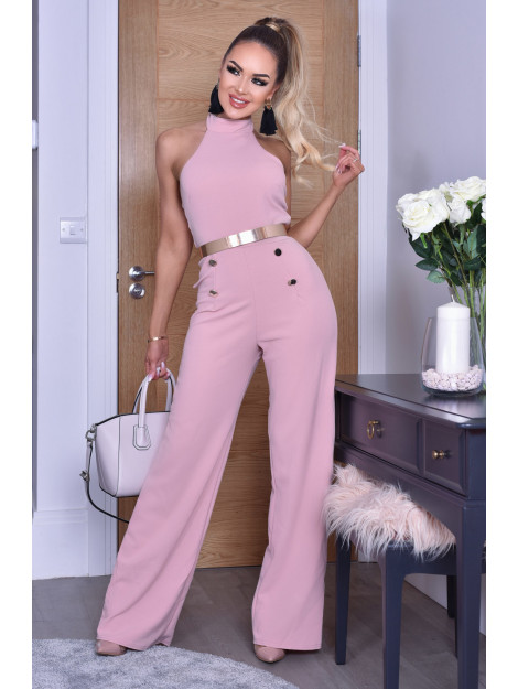 Catwalk Katrina halter button jumpsuit KatrinaJS-Dusty Pink large