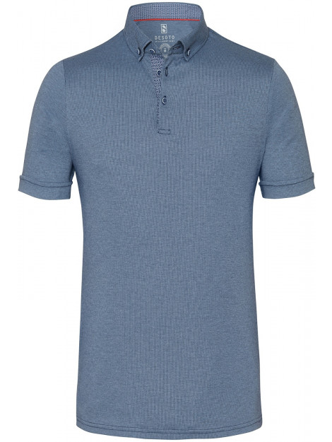 Desoto Polo donker jersey button down slim fit grijs DS.33636.3.502-M large