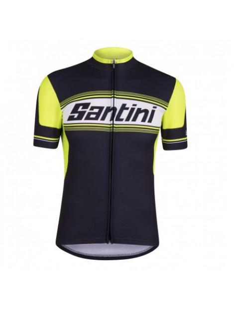 Santini Fietsshirt tau short sleeve printed jersey black zwart  large