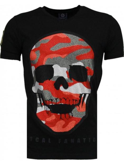 Local Fanatic Army skull rhinestone t-shirt 5083Z large