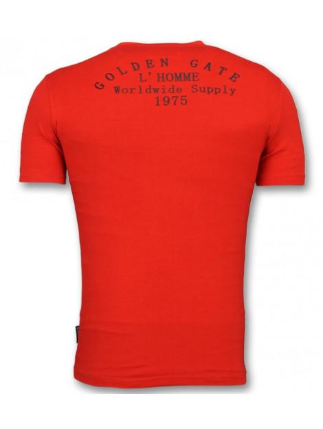 Enos Rode t-shirts slim fit shirt met glitter F-567 large