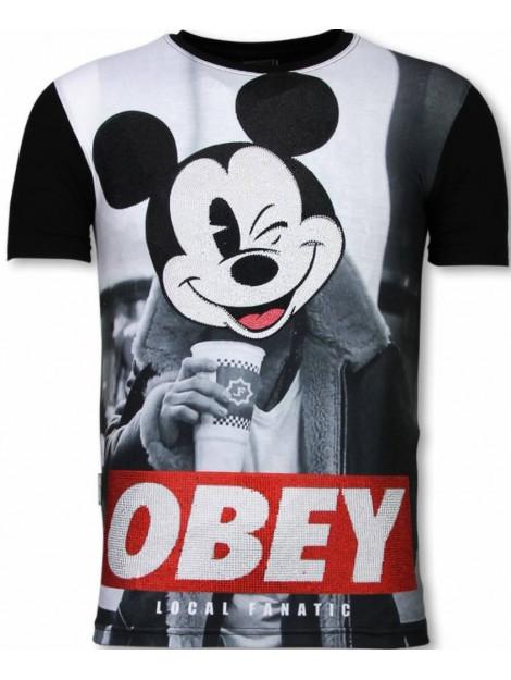Local Fanatic Obey mouse digital rhinestone t-shirt 11-6278Z large