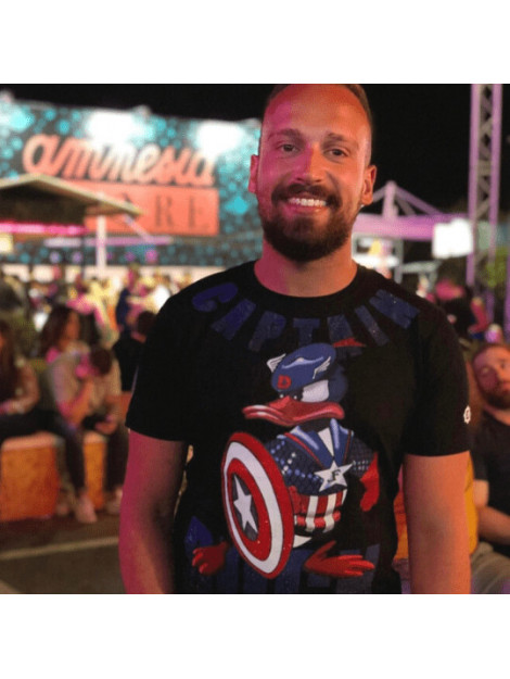 Local Fanatic Captain duck rhinestone t-shirt 6007Z large