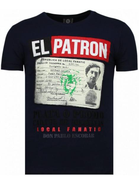 Local Fanatic El patron narcos billionaire rhinestone t-shirt 5783B large