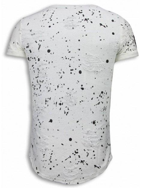 Justing Paint drops army shirt long fit t-shirt black dotted S09179W large
