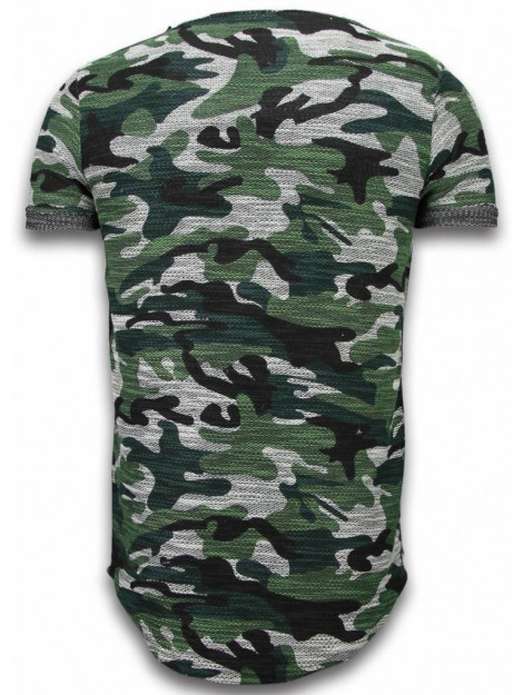 Justing Assorted camouflage t-shirt long fit camo shirt chest pocket P-92G large