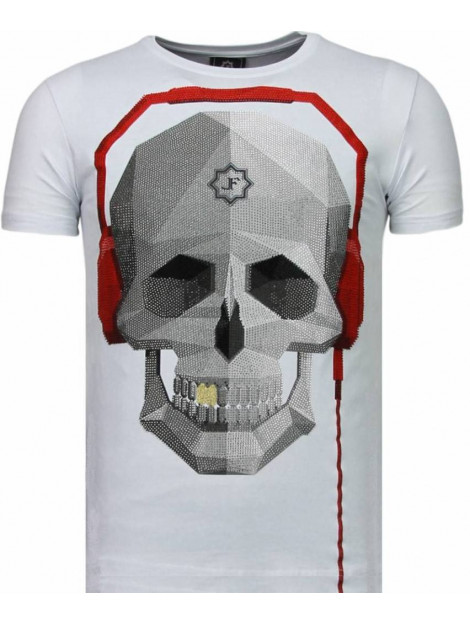 Local Fanatic Skull bring the beat rhinestone t-shirt 5779W large
