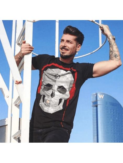 Local Fanatic Skull bring the beat rhinestone t-shirt 5779Z large