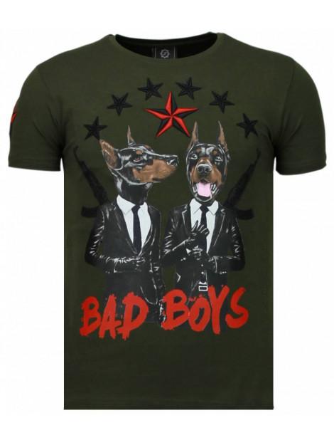 Local Fanatic Bad boys pinscher rhinestone t-shirt 5774G large