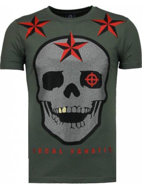 Local Fanatic Rough player skull rhinestone t-shirt 5101G large