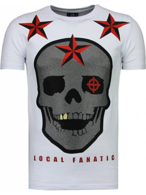 Local Fanatic Rough player skull rhinestone t-shirt 5101W large