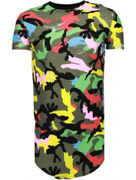 Justing Kleur leger print t-shirt T7509 large