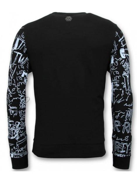 Enos Sweater met print skull crewneck KS-7323 large