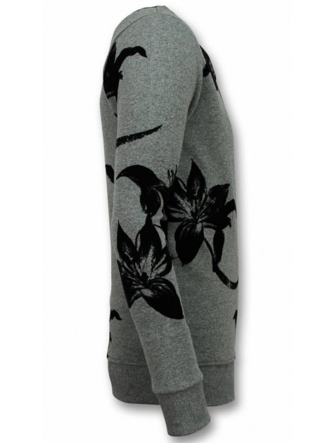 Tony Backer Flock print trui bladeren zwart sweater UY-316G large