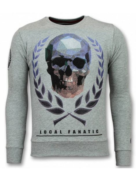 Local Fanatic Doodskop trui skull rhinestone sweater 11-6293G large
