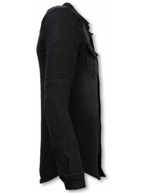 True Rise Biker denim shirt slim fit ribbel stonewashed DC-2266G large