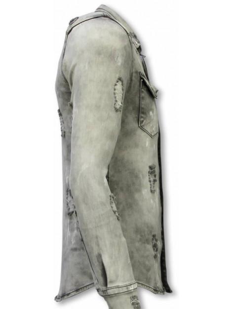 True Rise Denim shirt slim fit damaged allover DC-2279G large