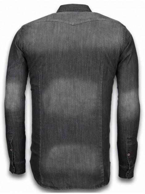 Bread & Buttons Denim shirt spijker slim fit 5340-5AG large