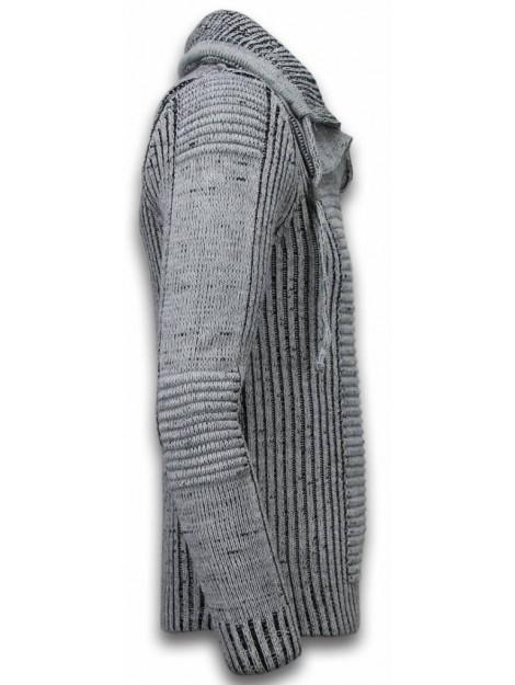 BN8 BLACK NUMBER Gebreide trui dubbel sjaalkraag rits 5004G large