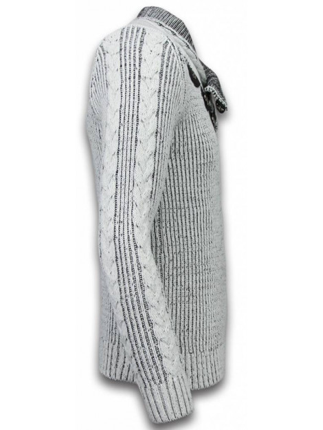 BN8 BLACK NUMBER Gebreide trui sjaalkraag knopen 5006G large