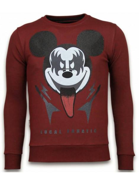 Local Fanatic Kiss my mickey rhinestone sweater 5912B large