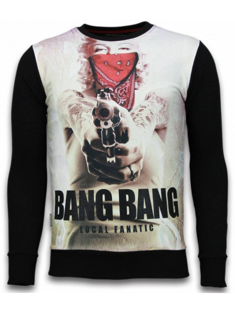 Local Fanatic Monroe bang bang digital rhinestone sweater 6034Z large