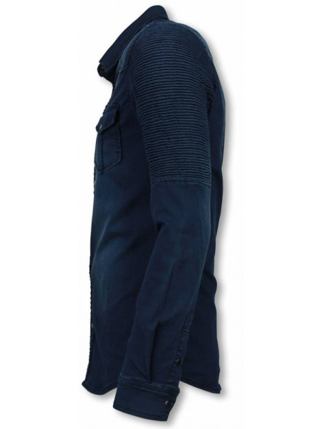 True Rise Biker denim shirt slim fit ribbel schoulder DC2078B large