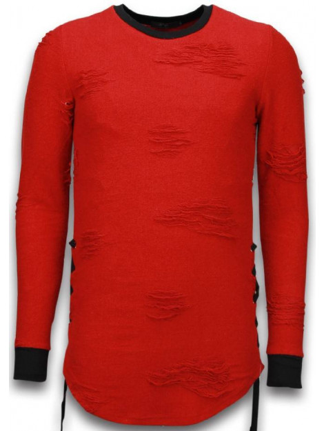 Justing Destroyed look trui side laces long fit sweater S09194R large