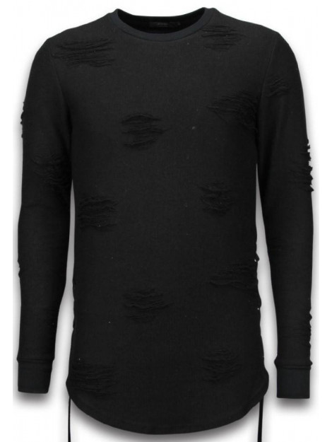 Justing Destroyed look trui side laces long fit sweater S09194Z large