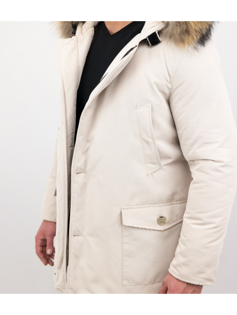 Enos Winterjas parka met grote echte bontkraag beige PI-7169-R large