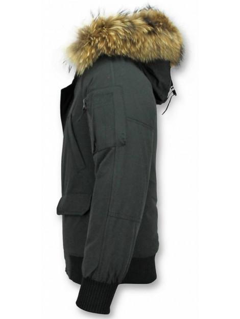 Enos Korte winterjas met bontkraag PI-7005Z   8821Z large