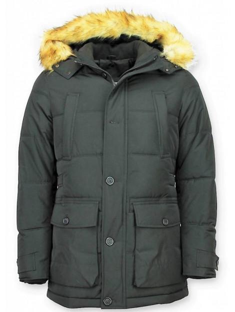 Enos Lange winterjas met bontkraag PI-8667Z large