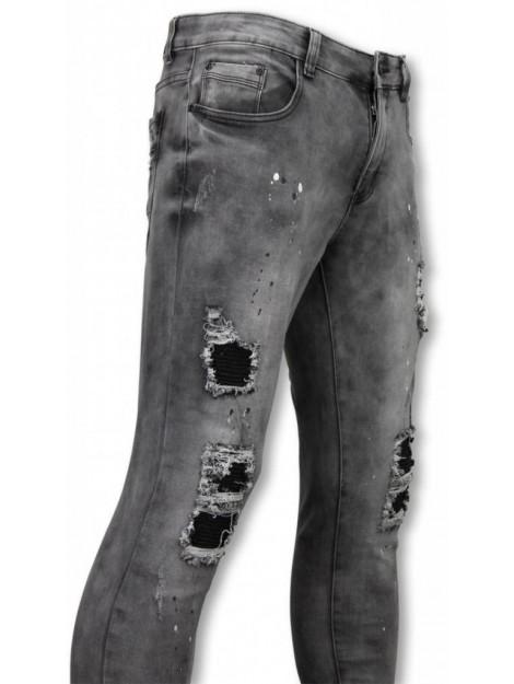 True Rise Biker jeans slim fit damaged jeans with paint drops U142-5 large