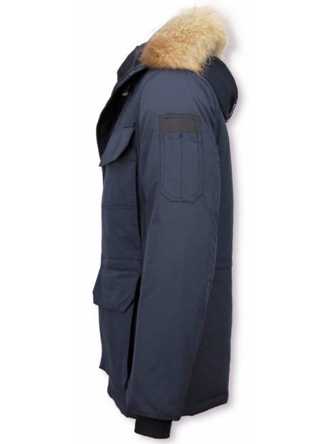Beluomo Lange winterjas met bontkraag 7503B large