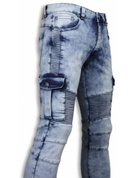 True Rise Biker jeans slim fit biker pocket jeans ZS731-15 large