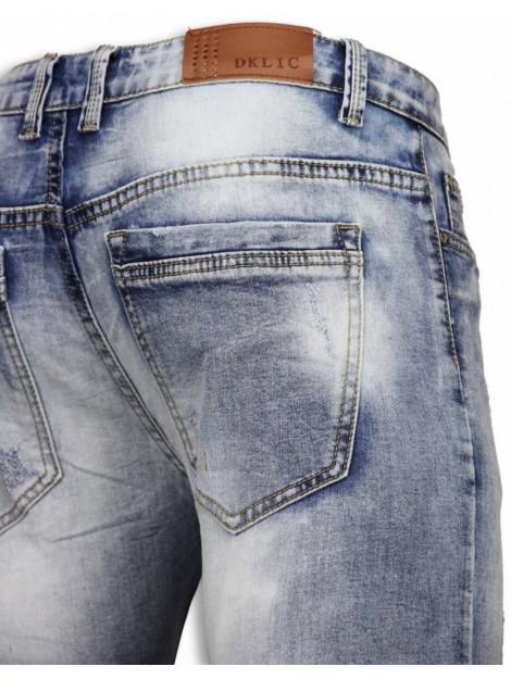 DKLIC Jeans Basic jeans light blue damaged slim fit A022# large