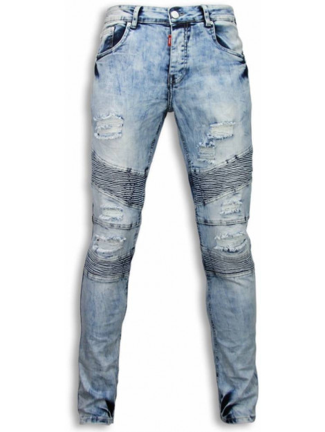 Justing Holed ripped jeans slim fit biker jeans fluted knee ST-9095#V large