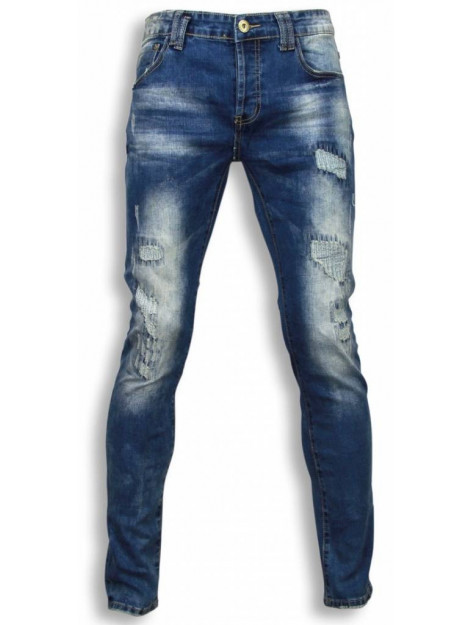 True Rise Jeans slim fit damaged look stitched XL002 large