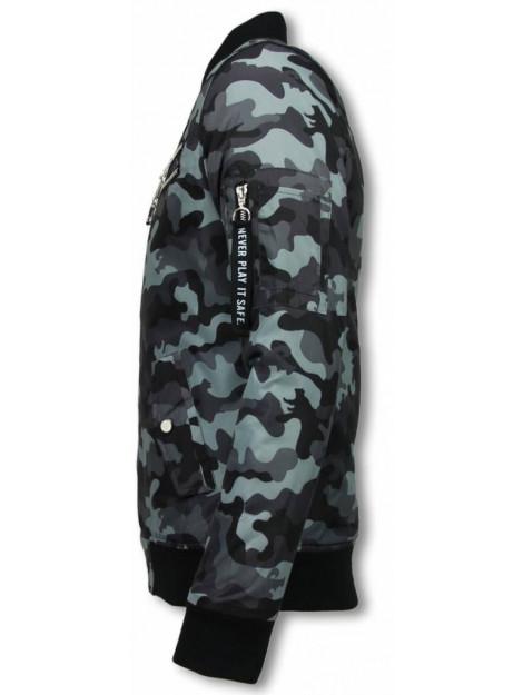 Justing Bomberjack camouflage print met 3 ritsen A1038 large