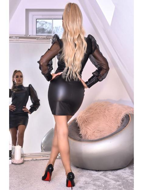 Catwalk Avery organza puffed sleeve leatherette dress Avery-Blk large