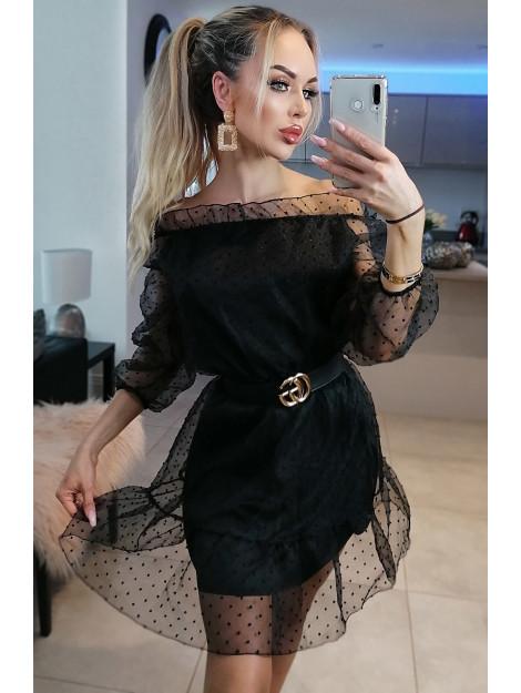 Catwalk Lilly polka dot bardot dress LillyDrs-Blk large