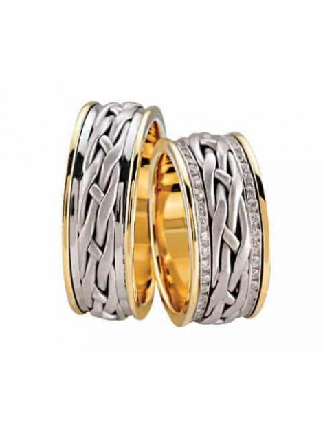 Christian Gevlochten trouwringen met diamanten 3802L large