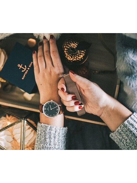 Kapten & Son Horloge black brown vintage leather campus 4251145223571 4251145223571 large